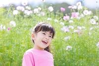 コスモス畑前で笑う女の子