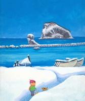 島浮かぶ冬の海