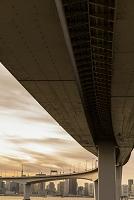 東京都 高速道路の橋脚と東京湾のビル群