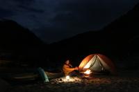 カヌーでキャンプ