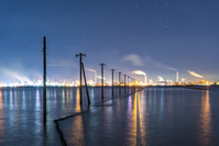 千葉県 夜の江川海岸の電柱