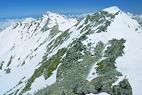 富山県 立山 雄山山頂より剣岳と大汝山