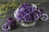 紫の斑入りのトルコキキョウ 和のアレンジメント