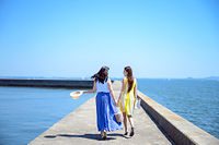 港の防波堤を歩く海のリゾートへ旅する女性2人