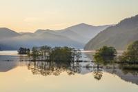 福島県 朝日に染まる秋元湖