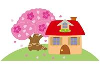 桜満開の丘の家