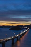 角島大橋と夕焼け