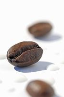 コーヒー豆とミルクフォーム