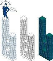超高層ツインタワーと空飛ぶビジネスマン