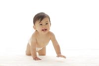 ハイハイするはだかの日本人の赤ちゃん