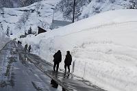 新潟県 雪国の除雪された道路を歩く人達