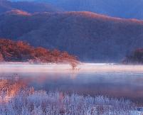福島県・北塩原村 裏磐梯 霜と桧原湖(朝)