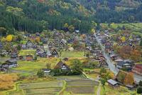 岐阜県 天守閣展望台から見る秋の白川郷