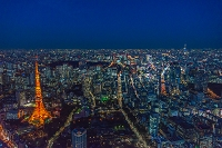 東京都 東京タワーと東京スカイツリーの夜景