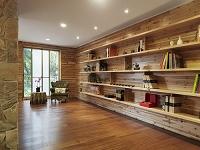 木製の本棚が並んだ部屋