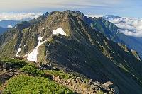 岐阜県 大喰岳から中岳と手前と穂高岳
