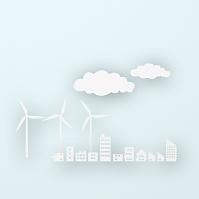 紙の町並と風車