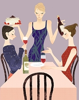 イラスト お祝いのケーキを食べる女性のグループ