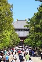 奈良県 東大寺 新緑の中門と大仏殿と観光客