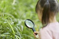 虫眼鏡で観察をする女の子
