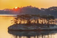 宮城県 松島の島影と朝日