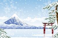 冬の富士山と鳥居 イラスト