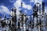 工場と空のコラージュ CG