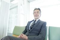 ベンチに座る笑顔のシニアビジネスマン