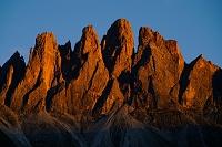 イタリア ガイズラー山脈 夕焼け