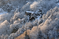 山形県 夕陽に輝く立石寺