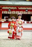 七五三の着物の姉妹 神社にて