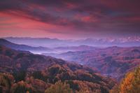 長野県 大望峠より朝の北アルプス