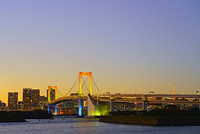 東京都 お台場 レインボーブリッジの夕景