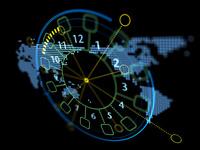 黒背景の世界地図と図形