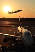 千葉県 夕方の成田空港 ボーイング747 デルタ航空とJAL(奥)