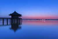 滋賀県 浮御堂の朝焼け