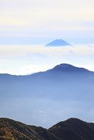 静岡県 赤石岳 朝の富士山と雲海の山並み