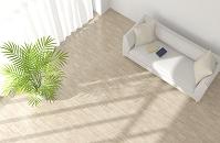 白いソファと観葉植物が置かれたリビングルーム CG