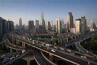 中国 立体交差道と街並み
