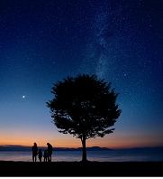 夜の湖とシルエット