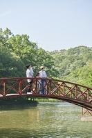 橋から遠くを見る日本人家族