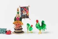 ガラス細工鶏正月飾り