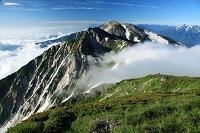 長野県 滝雲の杓子岳と白馬鑓ヶ岳