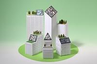 太陽光発電と緑化のビル