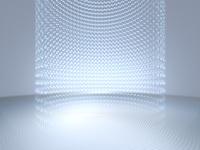 空間に画像が弧を描いて浮かぶ平面ステージ