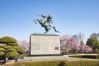 山形県 山形市 霞城公園最上義光騎馬像と桜