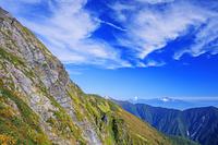 山梨県 八本歯ノコル付近より紅葉の北岳バットレスと甲斐駒ヶ岳...