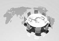 世界地図とテーブル