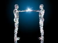 光り輝く二体の先進ロボットの合わせた指先が光る