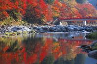 愛知県 香嵐渓 巴川と待月橋